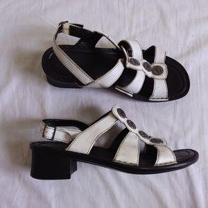 Josef Seibel White Leather Sandal 38 7.5